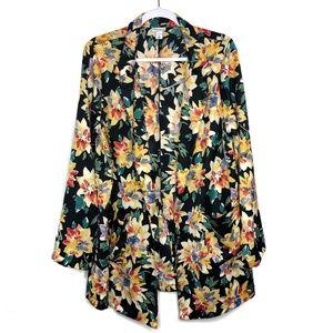 Ava & Viv Black Floral Pocket Jacket Plus Size 14W